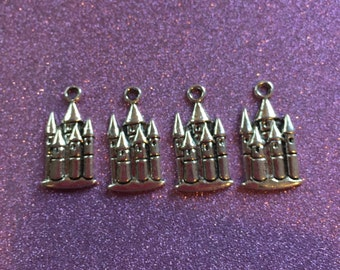4 Silvertone Fairy Tale Castle charms