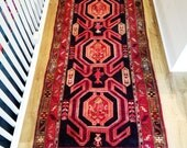 RESERVED for Jennifer - REDUCED PRICE - Persian Rug - Karacheh Viss Serapi Heriz - 3 x 11 - Vintage Early 1900s - Wool