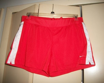 Vintage 90s Nike Red, White Athletic, Running Shorts Size L (12-14)