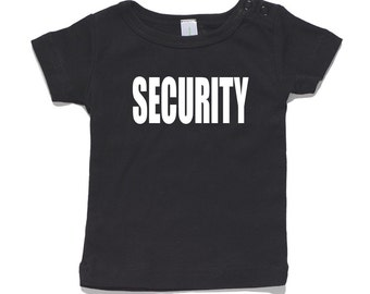 Security Baby T-Shirt 100% Cotton white and black 0-24 months sizes funny newborn birth