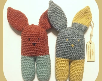 Sweet Bunny rattle crocheted baby toy,