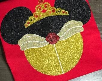 Disney Shirt, Belle, Princess, Icon, Mouse, Head, Ears, Magic Kingdom, Glitter, Trip, Vacation, Kids, Mens, Ladies, Womens, Plus Size