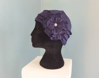 Dark blue / navy hat with removable flower headband lined chemo cap chemo headwear chemo hat