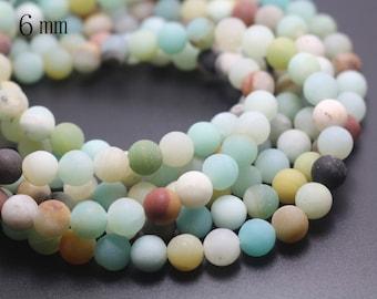 6mm Matte Amazonite beads,Multicolor Matte Amazonite Beads,Natural Gemstone round beads,15 inches one starand