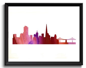 Printable San Francisco Wall Art - SF Watercolor Art, SF Painting, San Francisco Oil Painting, California Art Print, SF Art Print