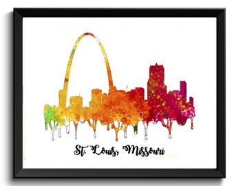 St. Louis Art Print - Missouri Art Print, St. Louis Painting, St Louis Watercolor Art, Cityscape Painting, City Skyline Art, Digital Art