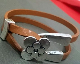 Brown Leather Bracelet handmade flower clasp
