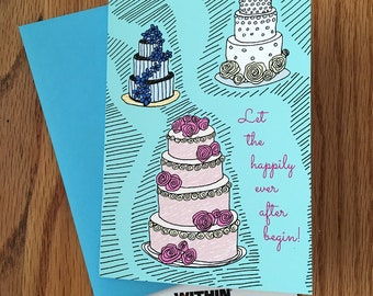Let The Happily Ever After Begin! Greeting Card   Wedding Card   Congratulations on your wedding   Wedding Cake Card