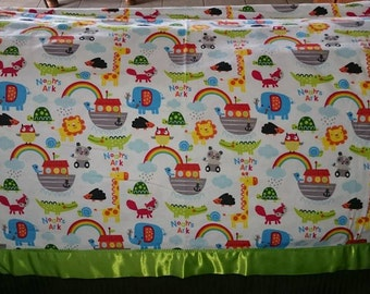 Noah's Ark Baby/Crib/Tummy Time Blanket - Soft Flannel ~45x45 with Satin Border