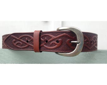 Hand Carved Leather Belt - Carved with Kōwhaihai pattern