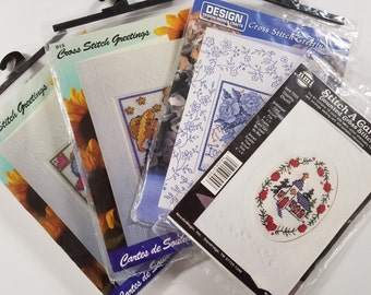 4 Counted Cross Stitch Greeting Card Kits Design Works & NMI Floral Bear Church Embossed Cards