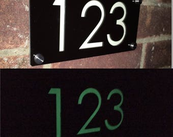 Luminous door number plaque engraved glow in the dark modern house sign
