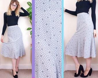 Vintage Midi Skirt, Sleek Skirt, High Waisted, Summer Skirt, Office Skirt, Womens Skirt, Grey, Polka Dot, Pin Up, Pretty, Floaty, 6, 32, 2