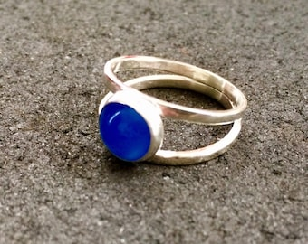 Double band blue agate ring, blue agate ring, agate jewellery, agate ring, blue ring, soothing crystal ring, one of a kind stone ring