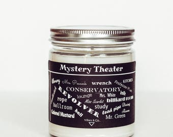 Game Night Candle, Nostalgia Candle, Clue Game Candle, Mystery Theater Candle, Book Candle, The Game of Clue, Gamer Candle Gift, Clue