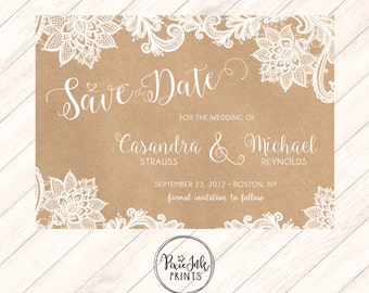 Lace and Kraft Save the Date, Lace Save the Date, Lace and Kraft Wedding, Lace and Kraft Printable, Lace Save the Date Wedding Printable