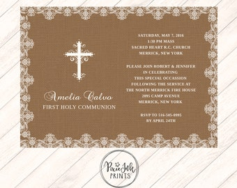 Burlap & Lace Communion Invitation, Lace 1st Communion Invitation, Cross Communion Invitation, Burlap and Lace Printable, Lace Christening