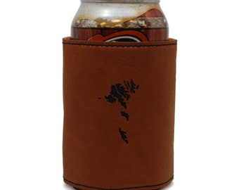 Faroe Islands Leather Can Sleeve, Beer Sleeve, Beer Cooler, Beer Hugger