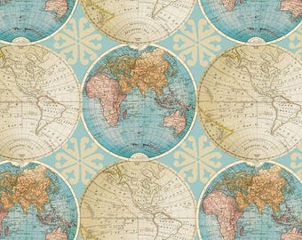 Globes world map fabric novelty fabric world map globe vintage globes cotton fabric by the yarddavid textilesfree shipping availablemap fabricworld fabricworld mapvintageyour fleece gumiabroncs Image collections
