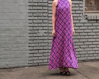 Vtg 70s Purple Haze Psychedelic Maxi Dress M