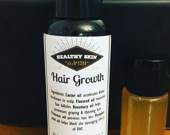 HAIR GROWTH Serum -  Earthy All Natural Organic Castor, Flaxseed, Primrose, Pumpkin seed, Rosemary Clean Pure Strengthening Oils