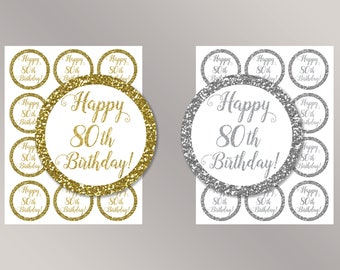 Happy 80th Birthday Cupcake Toppers, Happy Birthday favor tags, 80th Birthday Party Decor, Birthday Decorations, Gold, Silver Cake toppers