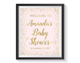 Welcome To Baby Shower Sign, Personalized Baby Shower Welcome Sign, Pink and Gold confetti Girl Baby Shower Decor, Custom, Printable Digital