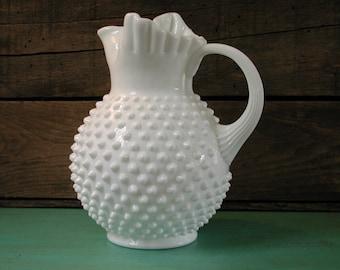 Vintage Fenton Milk Glass Hobnail Pitcher With Ice Lip