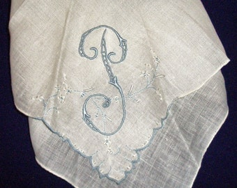"Vintage hand stitched monogram letter ""P"" handkerchief"