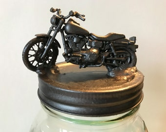 Harley Davidson Motorcycle, Harley Davidson Mason Jar, Motorcycle Office Decor, Container