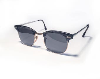 Vintage Retro Shuron Clubmaster Sunglasses 1950's Gray And Gold Mid-Century