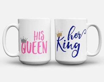 His and Hers Coffee Mug Set, His Queen, Her King, King and Queen Mug, Glitter Mugs, Couples Coffee Mug, His and Hers Coffee Mug Set, Couples