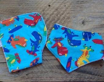 Set of baby bandana bib & baby burp cloth, dribble bib, drool bib, teething bib, baby bandana scarf, baby burp rag, contoured burp cloth