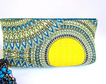 Colorful Summer Clutch Purse, Yellow and Turquoise Clutch, Teacher's Gift, Birthday Gift Ideas for Her, Colorful Clutch, Boho Clutch Purses