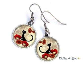 Boucles d'oreilles animal, chat, coquelicots, métal argenté cabochon résine /ref.18