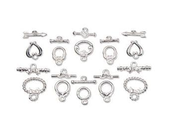 Variety Pack of Silver Fancy Toggle Clasps, 10 Toggle Sets, 15mm-8mm