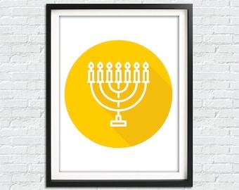 Hanukkah Print, Menorah Print, Jewish Home Decor, Jew Prints, Jew Home, Menorah Wall Decor, Jewish Poster, Hanukkah Decor, Jewish Art