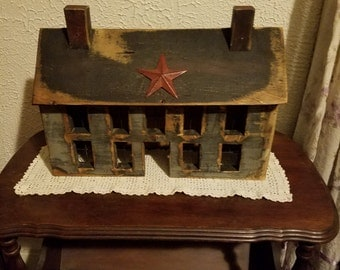 Primitive Salt Box House  With star