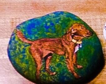 Custom Pet Portrait on rock