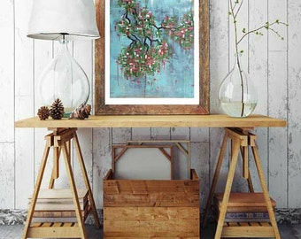 Art print of cherry tree painting, original abstract cherry tree art, modern decor, cherry tree blossoms, cherry tree art, spring art