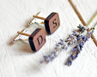 Personalised Monogram Cufflinks - Scrabble Tile Cufflinks - Mens Wood Cufflinks Monogrammed Initials Cufflinks Walnut Wood