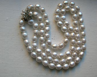 Chunky Faux Pearl Necklace with Fancy Box Clasp - 1950s