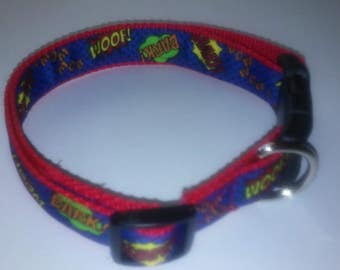 comic red and blue dog collar