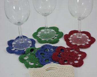 SALE - Set of 6 Crochet Coasters, Coaters, Set of Coasters, Handmade Coasters, Gift for Mom, Gift for Her/Him, Home Decor