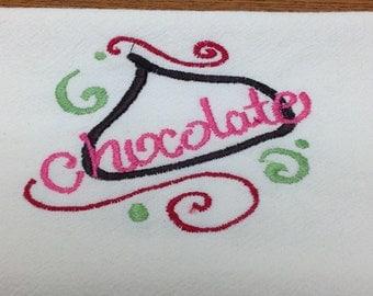 Chocolate Kiss flour sack dish towel