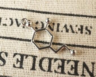 Dopamine molecule charms 4 silver  pendant charm jewellery supplies C199