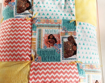 Patchwork Cotton Cuddle Quilt Moana - Blue/Coral/Yellow
