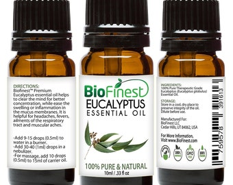 BioFinest Eucalyptus Oil - 100% Pure Eucalyptus Essential Oil - Therapeutic Grade - Premium Quality - Best For Aromatherapy