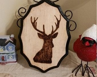 Buck silhouette wood burned plaque