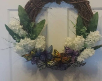 Spring wreath / front door wreath / door wreath / holiday wreath / butterfly wreath / Easter wreath/artificial white hyacinth/ summer wreath